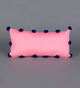 RangDesi Pink Silk 14 x 7 Inch Pom Pom Lace Cushion Covers with Inserts - Set of 2