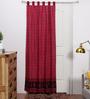 RangDesi Red Cotton 84 x 48 Inch Ethnic Door Curtain - Set of 2