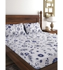 Raymond Home Blue 100% Cotton Queen Size Bedsheet - Set of 3