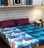 Raymond Home blue Cotton King Size Bedsheet - Set of 3