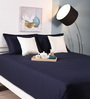 Raymond Home Navy Blue Cotton King Size Bed Sheet - Set of 3