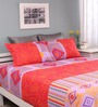 Raymond Home Orange Cotton Queen Silverleaf Bed Sheet with 2 Pillow Covers