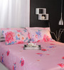 Raymond Home Pinks Nature & Florals Cotton King Size Bed Sheets - Set of 3