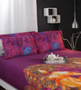 Raymond Home Purples Nature & Florals Cotton King Size Bed Sheets - Set of 3