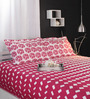 Raymond Home Reds Geometric Patterns Cotton Queen Size Bed Sheets - Set of 3