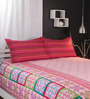 Raymond Home Reds Abstract Patterns Cotton Queen Size Bed Sheets - Set of 3