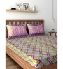 Raymond Home Violets 100% Cotton Queen Size Bedsheet - Set of 3