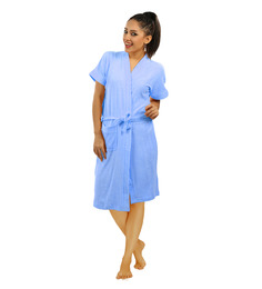 Red Rose Blue Cotton 43 x 21 Inch Bathrobe