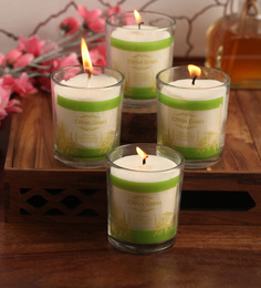 Resonance Citronella, Neem & Tulsi Aroma Natural Wax Shot Glass Scented Candles - Set Of 4