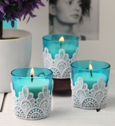 Resonance Glass With Lace Blue Set Of 3