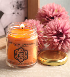 Resonance Meditation Orange & Sandalwood Aroma Sacral Chakra Essential Oil Healing Therapy Scented Candle
