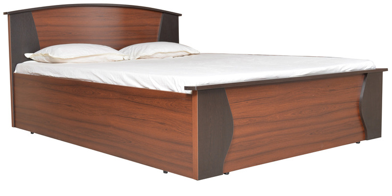 Regent Queen Bed with New Hydraulic Storage in Burma Teak & Wenge Colour by Crystal Furnitech