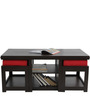 Rectangular Coffee Table with Red Cushioned Stools by ARRA