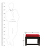 Rectangular Coffee Table with Two Red Cushioned Stools by ARRA