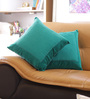 Reme Turquoise Cotton 16 x 16 Inch Embroidered Cushion Cover - Set of 2