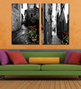 Retcomm Framed Multiple Canvas Paintings Beautiful Town with Beautiful Color Shades