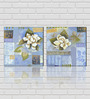 Retcomm Framed Multiple Canvas Paintings Modern Art  White petal Flowers with blue light shade painted background