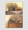 Retcomm Framed Multiple Canvas Paintings Flower Basket on Table Top