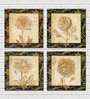 Retcomm Framed Multiple Canvas Paintings Multiple flowers sketches in crem color back grounds