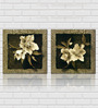 Retcomm Art Wild Gray Flower Multicolored Wooden 18 x 18 Inch Framed 2-piece Painting Set