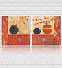 Retcomm Art Decorative pots Wooden 18 x 18 Inch Framed 2-piece Digital Art Print Set