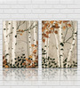 Retcomm Framed Multiple Canvas Paintings Tree Branches Shedding Dry Leaves