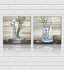 Retcomm Art Water Jars, Pebbles, Bamboo Sticks, and White Flowers Wooden 18 x 18 Inch 2-piece Framed Digital Art Print Set