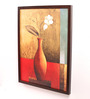 Retcomm Art Wooden 18 x 1 x 24 Inch Vase with White Flowers Framed Canvas Painting