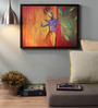 Retcomm Art Wooden 24 x 1 x 18 Inch Lord Krishna with Flute Framed Canvas Painting