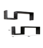 Reynaldo Contemporary Wall Shelves Set of 2 in Black by CasaCraft