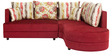Colorado Fabric LHS Sectional Sofa with Lounger in Red Colour by HomeTown