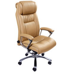 Rich & Famous High Back Executive Chair in Beige Colour by Stellar
