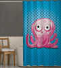 Right Blue & Pink Polyester Octopus Print Shower Curtain