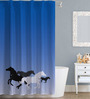 Right Clip Art Design Blue Polyester Water Proof Shower Curtain