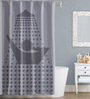 Right Clip Art Design Grey Polyester Water Proof Shower Curtain