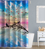 Right Clip Art Design Multicolor Polyester Water Proof Shower Curtain