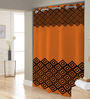 Right Orange & Black Polyester Shower Curtain
