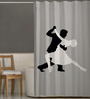 Right White & Black Polyester Dancing Couple Print Shower Curtain