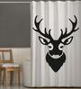 Right White & Black Polyester Deer Print Shower Curtain