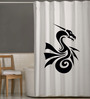 Right White & Black Polyester Dragon Print Shower Curtain
