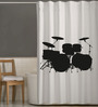 Right White & Black Polyester Drums Print Shower Curtain