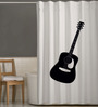 Right White & Black Polyester Guitar Print Shower Curtain