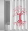 Right White & Pink Polyester Shower Curtain