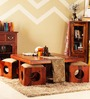 Lynden Sheesham Wood Coffee Table Set in Provincial Teak Finish by Woodsworth