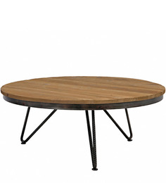 Robinson Round Homebrick Coffee Table in Black & Brown Colour by Asian Arts