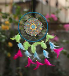 Rooh Dream Catchers Multicolour Wool Om Psychadelic Dream Catcher
