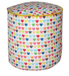 Round Footstool Cover without Beans with Little Hearts Design by Sattva