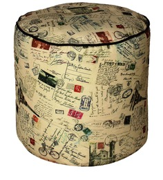 Round Footstool Cover without Beans with Stamps Print by Sattva