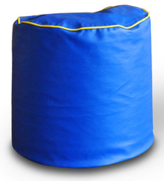 Round Ottoman L size in Blue & Yellow Piping Colour with Beans by Style Homez