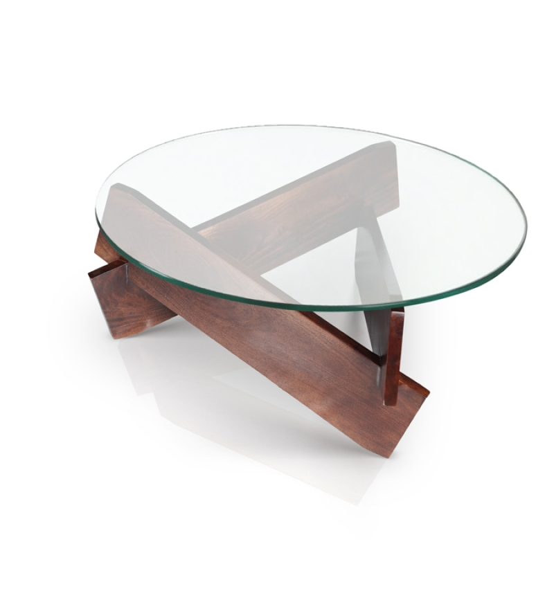 Round glass coffee table by mudramark online contemporary furniture pepperfry product Coffee tables glass